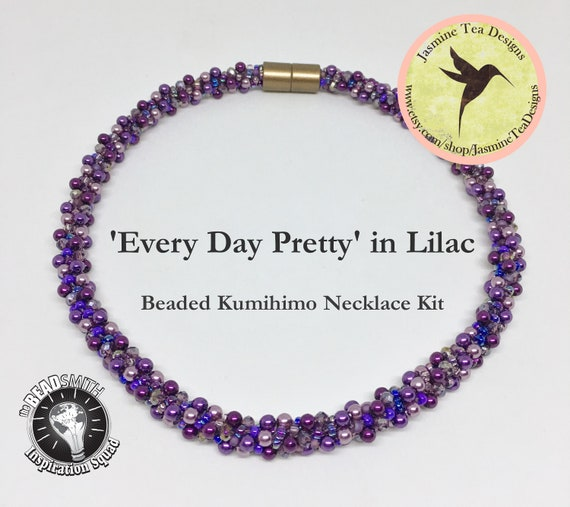 Every Day Pretty in Lilac Beaded Kumihimo Necklace Kit, Loading Instructions Included, Beads And Clasp Included