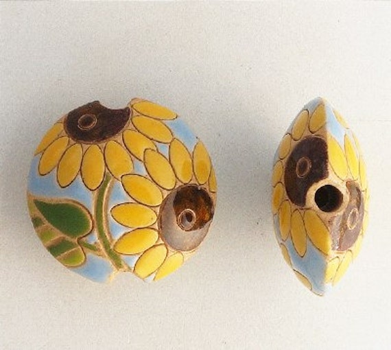 Sunflower Lentil Beads, Focal Beads, Golem Design Studio, Pendant Lentil Beads, Large Hole Beads For Kumihimo