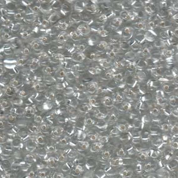 Miyuki Drop Beads, 3.4mm Transparent Silver Lined Clear, 25g tubes