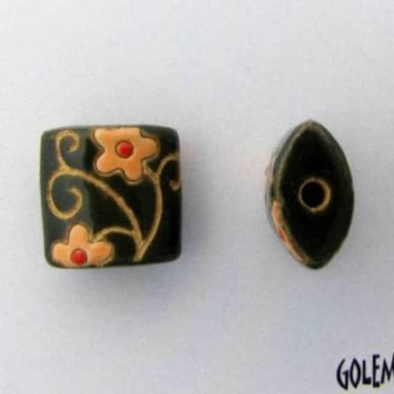 Spirals and Flowers Pendant Bead, Golem Design Studio, Artisan Ceramic Pendants, Beads for Kumihimo