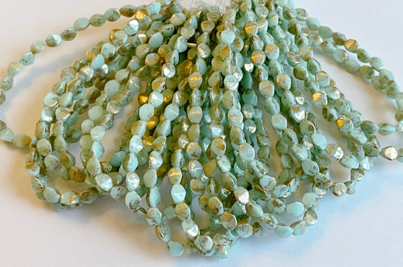 Pinch Beads, Opaque Mint With Gold Leaf, 5x3mm Pinch Beads, 30 Pinch Beads Per Strand