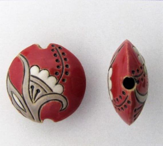 Tuscany Red Cotton Blossoms, Lentil Focal Bead, Lentil Pendant Bead, Golem Studio Designs