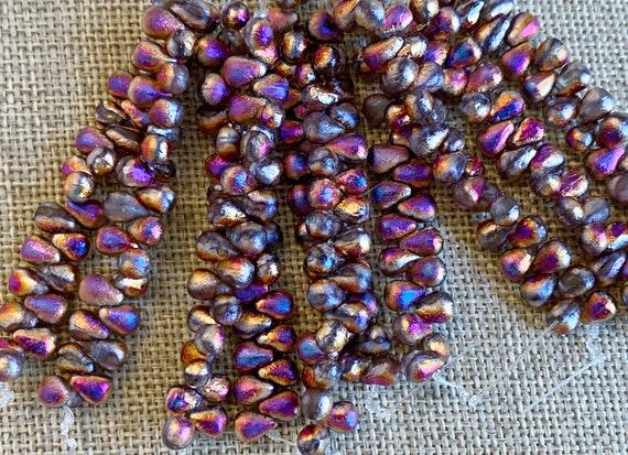 6x4mm Teardrop Beads, Etched Sliperit Teardrops, Teardrop Beads, 25 Beads Per Strand