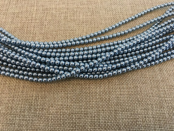 State Blue 4mm Alabaster Glass Pearls, 120 Pearls Per Strand