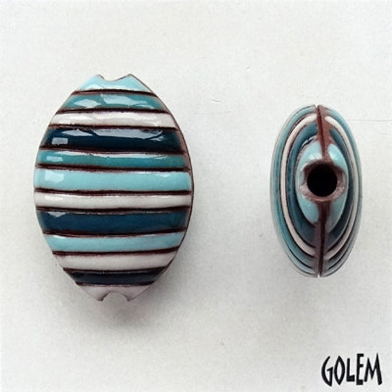 Funky Stripes Blue, Aqua, Turquoise and White Almond Bead, Hand Carved and Hand Glazed Artisan Beads by Golem Design Studio