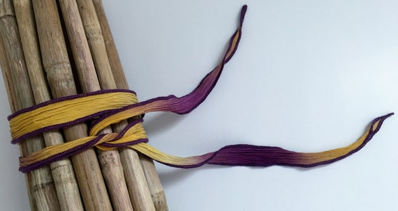Pick Me A Pansy, Hand-Dyed Silk Ribbon, Handmade Silk Ribbons, Fiber Artist Silk Ribbons