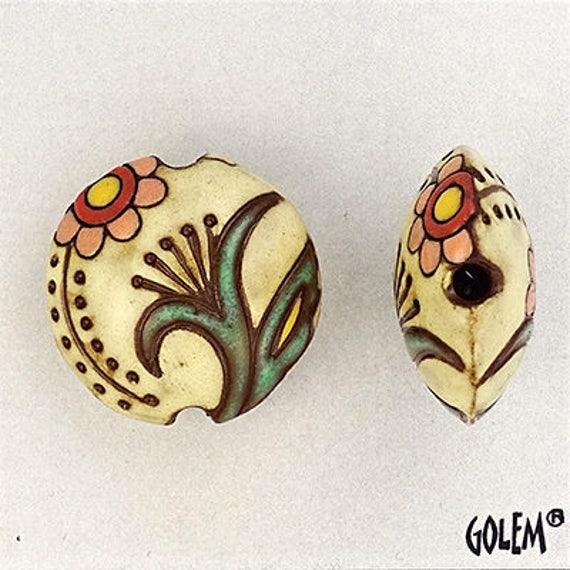 Ivory Cotton Blossoms, Lentil Focal Bead, Lentil Pendant Bead, Golem Studio Designs