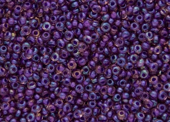 TOHO 3mm Inside Color Rainbow Rosaline Opaque Purple Lined Magatama Beads, Toho Color 928c, 2.5 Inch Tube