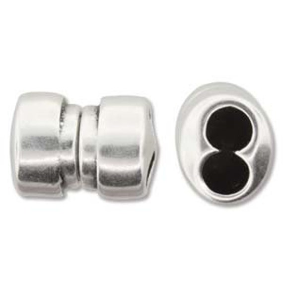 Silver Plate Double 5mm Hole Magnetic Clasp, Kumihimo Two Hole Clasp