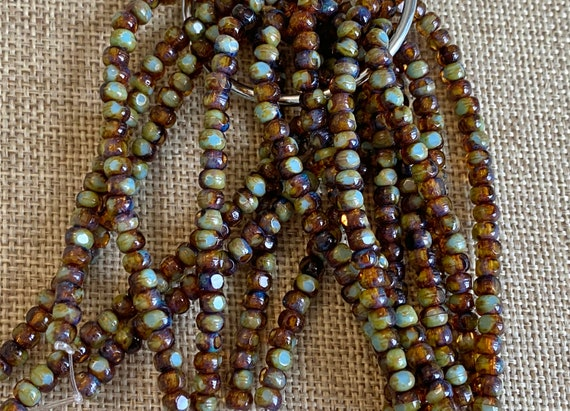 Amber With Green Tea Picasso Finish 3-Cut Matubo Fire Polish Beads, 3x4mm, 50 Beads Per Strand, 1mm Center Hole, Trica Beads