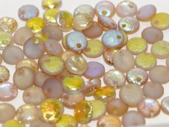 6mm Etched Crystal Lemon Rainbow Lentil Beads, Single Hole Top Drilled Lentil Beads, 50 Pieces