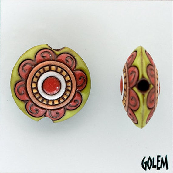 Flower Mandala Lentil Bead, Burnt Umber and Chartreuse Pendant Bead, Golem Design Studio Beads, Large Hole Beads For Kumihimo