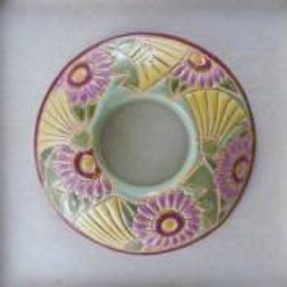 Yellow Dandelions With Purple Daisies Donut Porcelain Pendant Bead, Golem Design Studio Beads, 39mm Round