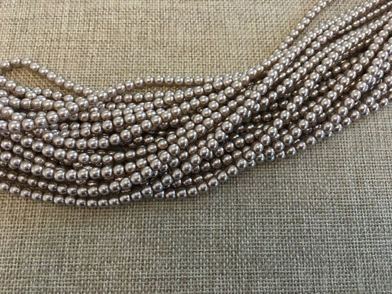 Champagne 4mm Alabaster Glass Pearls, 120 Pearls Per Strand