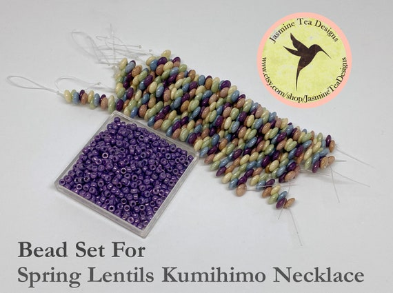 Seed Beads And Five Color Luster Lentils For Spring Lentils Kumihimo Necklace