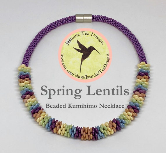 Spring Lentils Beaded Kumihimo Necklace, Czech Five Color Luster Lentils Paired With Matubo Vega Seed Beads, Magnetic Clasp, 20 Inches
