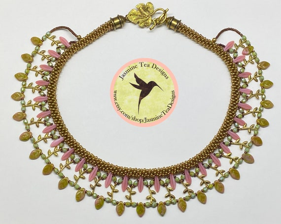 Sample Sale Necklace, Pink Coral, Assorted Czech Glass Beads, Japanese Seed Beads, Antique Gold Findings, 19 Inch Collar Style