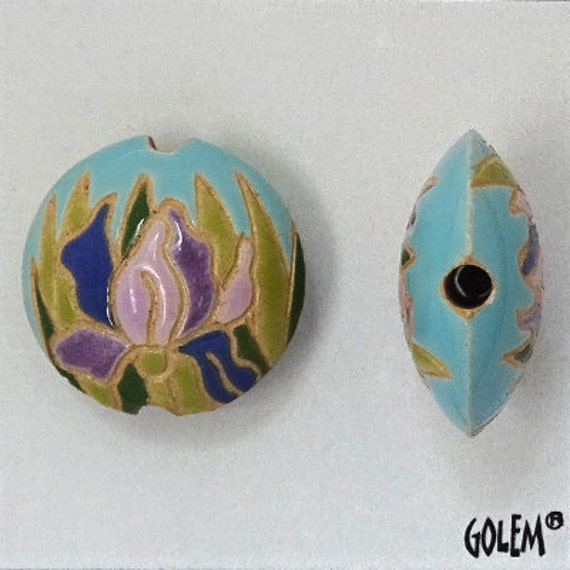 Blue Irises, Lentil Beads, Golem Design Studio Hand Crafted Beads, Small Focal Beads, Irises Pendant Beads
