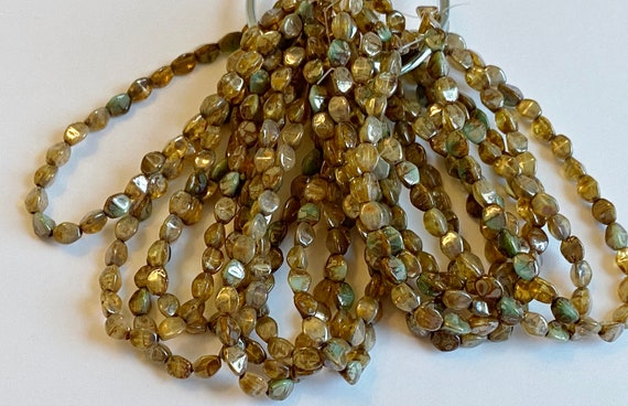 Pinch Beads, Champagne Mix With Picasso Finish, 5x3mm Pinch Beads, 30 Pinch Beads Per Strand