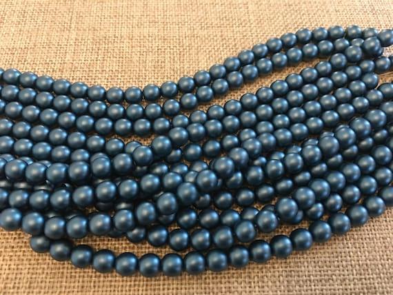 Steel Blue 6mm Glass Pearls, 25 Pearls Per Strand, Matte Finish