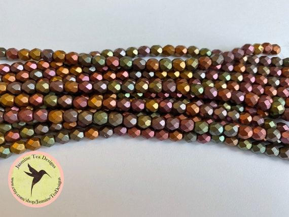 Matte Autumn Metallic Iris Mix, Fire Polish Beads, Round Faceted 6mm Fire Polish Beads, 25 Beads Per Strand