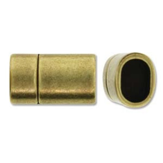 Brass Magnetic Clasp, Straight Shaped 24x13mm Brass Magnetic Clasp, 10x7mm Inner Hole, Kumihimo And Licorice Leather Magnetic Clasp