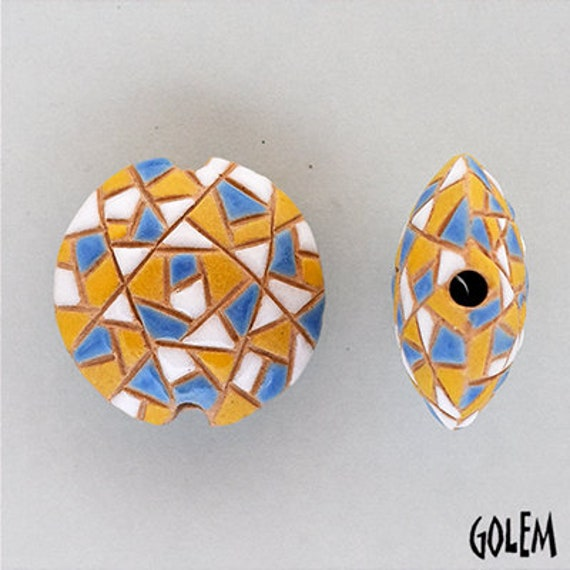 Barcelona Mosaic Lentil Bead, Round Lentil With Mosaic Design Using Yellow, Blue And White, Focal Bead, Pendant Bead, Golem Studio Designs