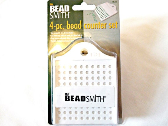 Bead Counting Set, Set Of Four Bead Counting Trays With Sliding Dividers, Sizes 3, 4, 6 And 8 Millimeter Beads