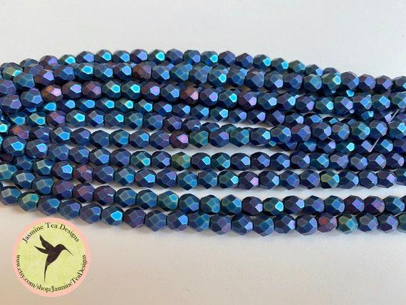Matte Iris Blue Fire Polish Beads, Round Faceted 6mm Fire Polish Beads, 25 Beads Per Strand