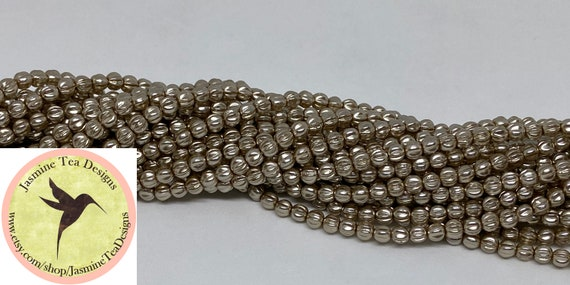 Champagne 4mm Melon Glass Pearls, 120 Pearls Per Strand