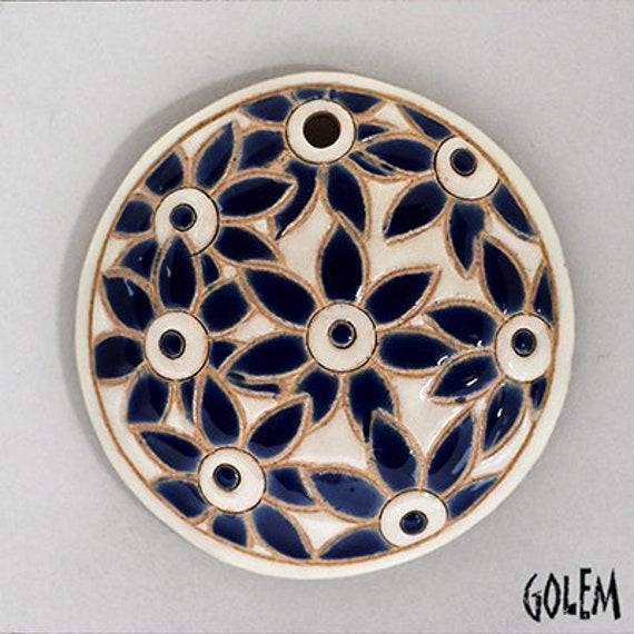 Blue Petal Flowers On White Pendant,Round Domed Ceramic Pendant Bead, Golem Design Studio Beads, 1.5 Inches Round