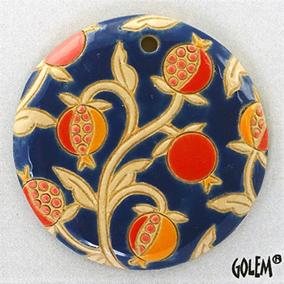 Pomegranates On Blue, Round Pendant, Large Pendant, Artisan Focal Beads, Golem Design Studio Beads