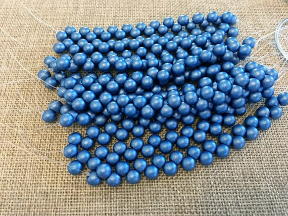 Satin Metallic Azure 6mm Top Hole Round Beads, Color Trends, 25 Beads Per Strand