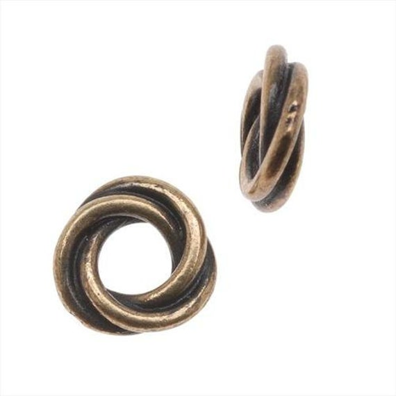 Antique Brass 8mm Twisted Spacer, TierraCast Spacer Beads, Oxidized Brass