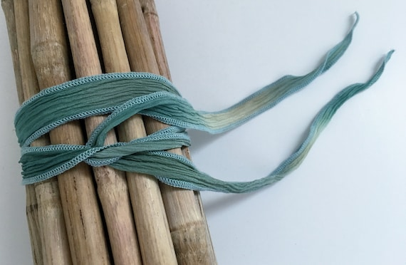 Spring Fling, Hand-Dyed Silk Ribbon, Handmade Silk Ribbons, Fiber Artist Silk Ribbons