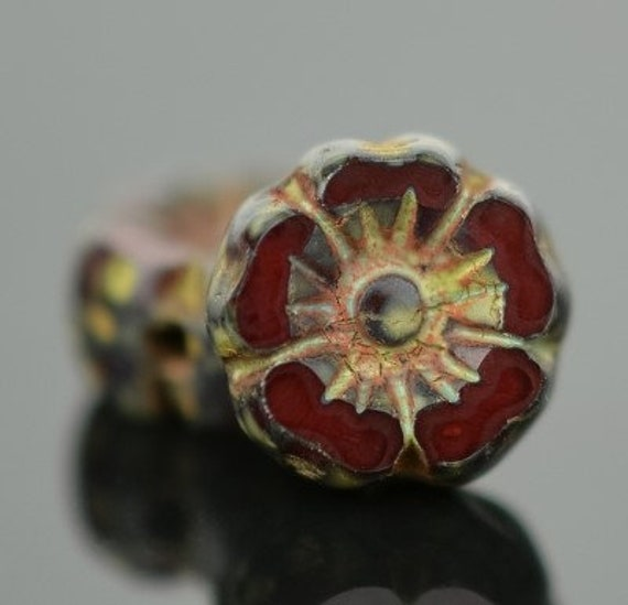 Hibiscus Flower, 7mm, Garnet Opaline with Picasso Finish, Table Cut Czech Glass Hibiscus Flowers, 12 Pieces