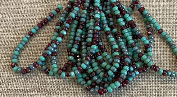 Sea Green with Sky Blue and Red Picasso 3-Cut Matubo Fire Polish Beads, 3x4mm, 50 Beads Per Strand, 1mm Center Hole, Trica Beads