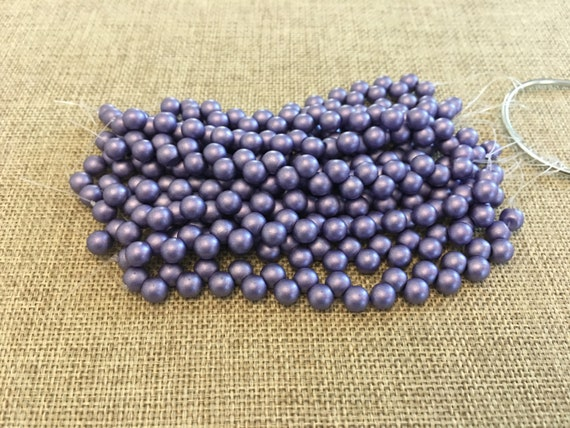 Satin Metallic Lavender 6mm Top Hole Round Beads, Color Trends, 25 Beads Per Strand