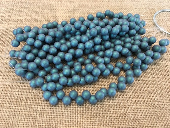 Satin Metallic Turquoise 6mm Top Hole Round Beads, Color Trends, 25 Beads Per Strand