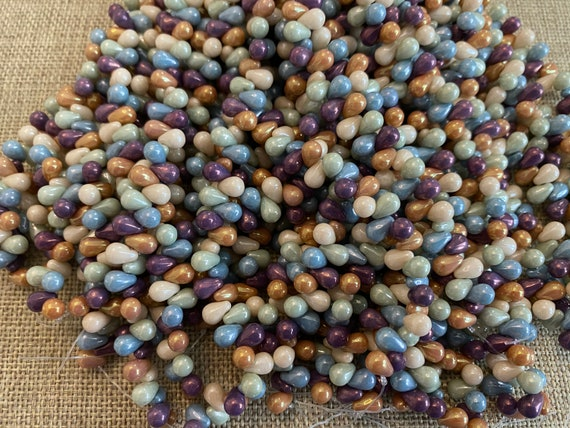 5 Color Luster 6x4mm Mix Teardrop Beads, Czech Glass Teardrop Beads, 50 Teardrops Per Strand, Top Drilled, 10 Repeats of 5 Colors