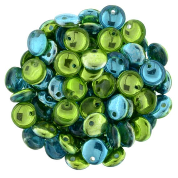 6mm,  Lime Teal Mirror Reflection, 50 pcs. Czech Glass Lentil Beads, Single Hole, Top Drilled Lentil Beads, Great Beads for Kumihimo