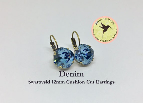 12mm Cushion Cut Denim Swarovski Crystal Earrings, In  A Vintage Antique Brass Patina Setting, Lever Back Ear Wires