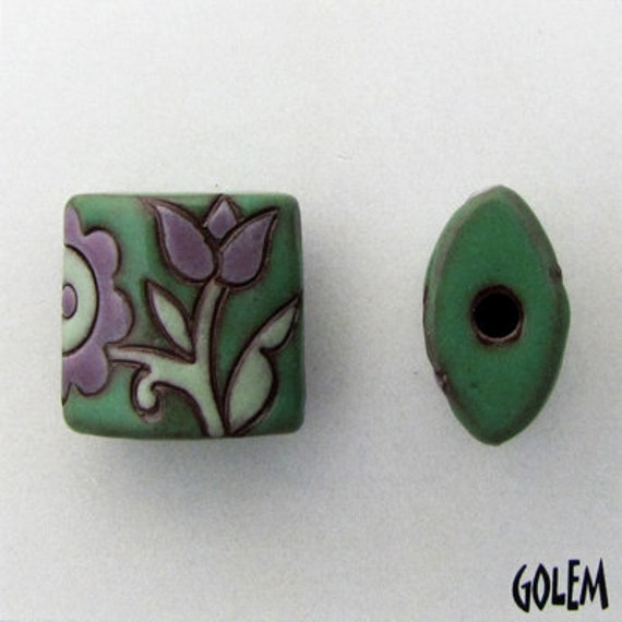 Old Lace in Purple and Green, Hand Carved Bead, Golem Design Studio, Artisan Ceramic Pendants