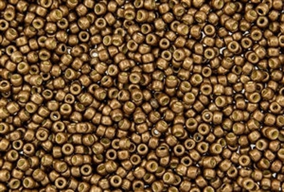 TOHO Size 8 Permafinish Matte Galvanized Medal Bronze Seed Beads Size 8/o Round, TOHO Color PF594Fc Seed Beads In 2.5 Inch Tubes