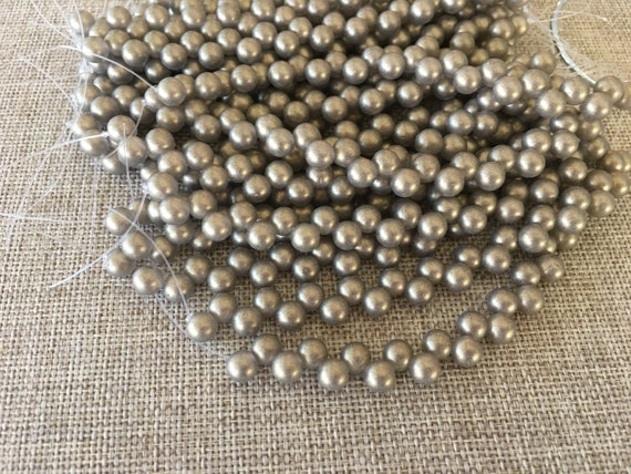 Sueded Gold Black Diamond, 6mm Top Drilled Round Beads, 25 Beads Per Strand