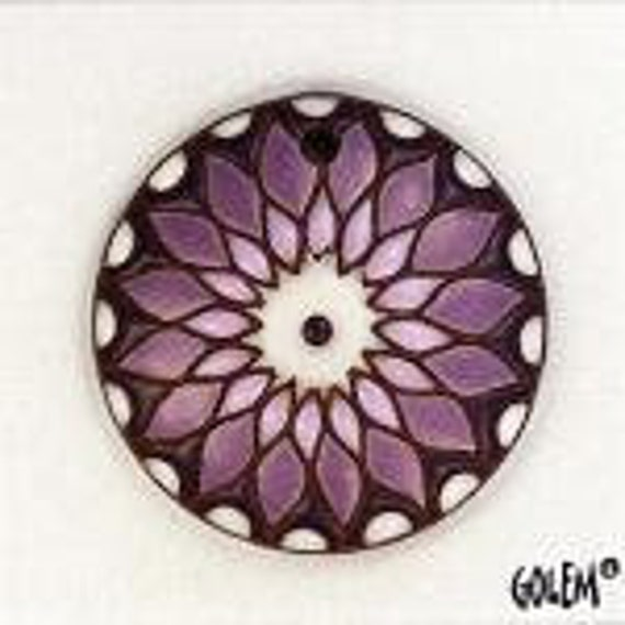 Sun Design Pendant In Purple On Terracotta,  Pendant Bead, Round Terracotta Pendant Bead, Golem Design Studio Beads
