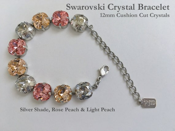 Rose Peach, Light Peach And Silver Shade Swarovski Crystal Bracelet, 12mm Cushion Cut Crystals, Adjustable Length