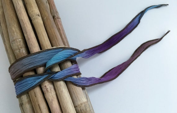 Forget Me Not, Hand-Dyed Silk Ribbon, Handmade Silk Ribbons, Fiber Artist Silk Ribbons