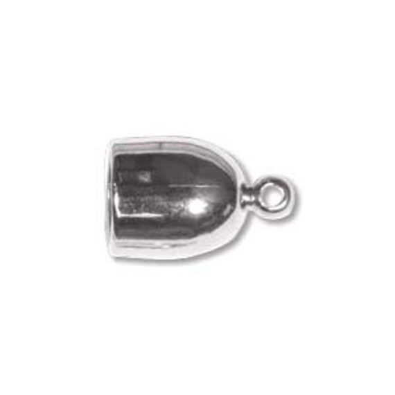 Silver Plated Bullet End Caps, 6mm End Caps,  6mm End Cap Set, 2 Pieces Silver Plated Cord Ends for Kumihimo Braids, End Caps