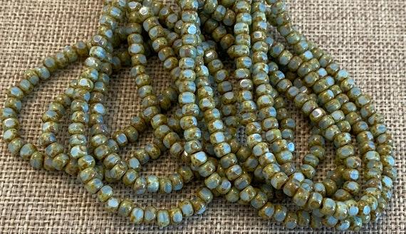 Green Tea with Picasso 3-Cut Matubo Fire Polish Beads, 3x4mm, 50 Beads Per Strand, 1mm Center Hole, Trica Beads